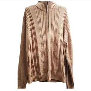Perry Ellis America Tan Zip Up Cardigan Sweater L